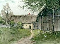 Hand colored Eidenberger of Farmhouse in Mühlviertel, Germany.