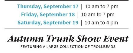 Dates of 2015 Autumn Trunk Show at The Frame Workshop, Appleton, Wisconsin
