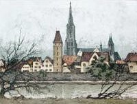Eidenberger etching of Ulm on the Danube River.