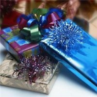 Sample gift wrapping - paper and bow options vary