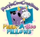 Peek-A-Boo Pillows, handmade by Purple Cow Creations in Newberg, Oregon with plush animals hiding inside each pillow.