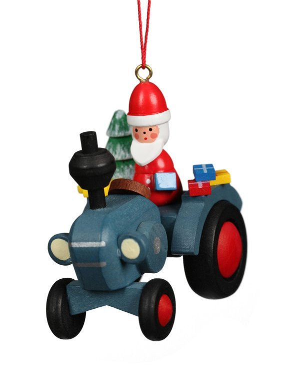 Santa on Blue Tractor<br>Ulbricht Ornament