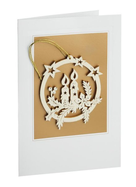 Branch with Candles<br> Wooden Ornament and Card