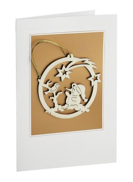 Snowman & Bird<br>Wooden Ornament and Card