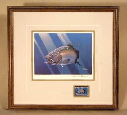 1984 WI GL Trout-Salmon Stamp Print - Framed