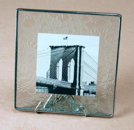 5x5 Etched Photo Frame<br> Bedford Downing Glass
