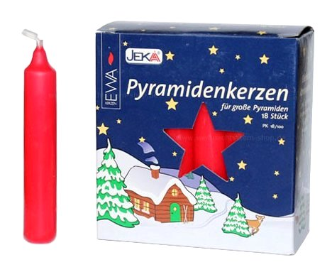 German Pyramid Candles<br>Large Red - 17mm