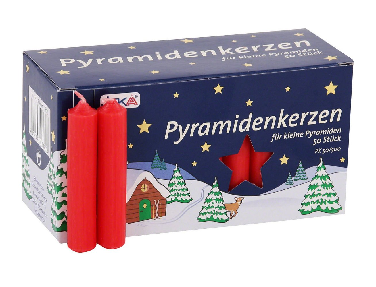 German Pyramid Candles<br>Medium Red - 14mm