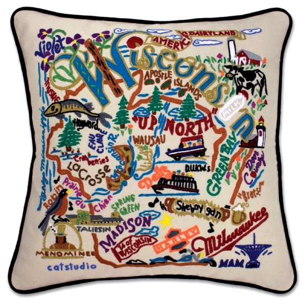Wisconsin State Pillow<br> by catstudio