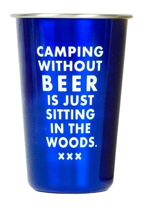 Camping without Beer<br>Stainless Steel Beer Glass