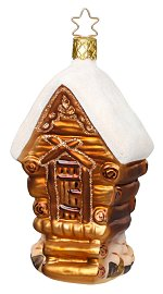Snow Covered Log Cabin<br>Inge-glas Ornament