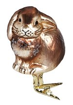 Resting Rabbit<br>Ing-glas Clip-on Ornament