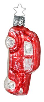 Nostalgia Red Car<br>Vintage Inge-glas Ornament