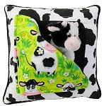 Cow & Flowers<br>13 Inch Peek-A-Boo Pillow