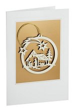 Mary & Joseph<br> Wooden Ornament and Card