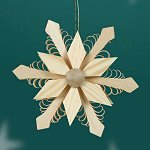 12 Point Snowflake<br>Shaved Wood Ornament
