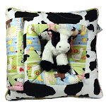 Farm Cow & Tractors<br>Peek-A-Boo Pillow - Large