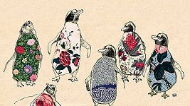 Dancing Penguins<br> Anna Wright Long Card