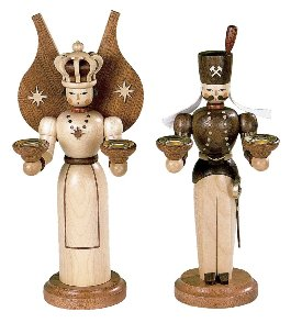 Erzgebirge Miner & Angel<br>Natural Candle Holders