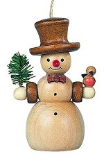 Natural Snowman<br>Müller Wooden Ornament