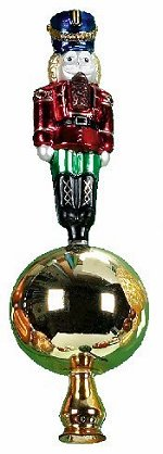 Nutcracker Finial<br>Glass Tree Topper