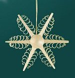 6 Point Star<br> Shaved Wood Ornament