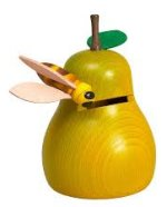 Golden Pear with Bee<br>Wooden Piggy Bank