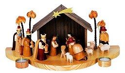 Nativity Scene - Natural<br>Glässer with Tealights