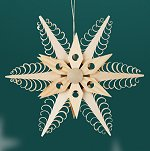 Large 6 Point Snowflake<br>Shaved Wood Ornament