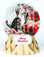 Holiday Cat<br> 2014 Pop-Up Snow Globe Card