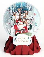 Sledding Santa<br> 2014 Pop-Up Snow Globe Card