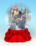 Santa and Helper - Large<br>Pop-up Snow Globe Card