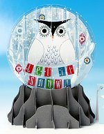 Snowy Owl - Large<br>Pop-up Snow Globe Card