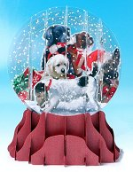 Christmas Dogs - Large<br>Pop-up Snow Globe Card