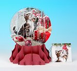 Christmas Kitten - Large<br> 2013 Pop-Up Snow Gobe