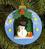 Blue Ball with Snowman<br>Ulbricht Ornament