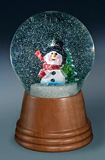 Snowman with Scarf & Tree<br>Vienna Snow Globe