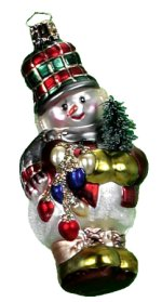Snowman with Plaid Hat